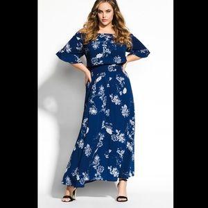 City Chic Sapphire Garden Maxi Dress